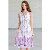 Lavender Rose Button Front Floral Print Midi Sundress