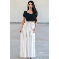 Cream Beige Boho Maxi Skirt, Hippie Peasant Skirt
