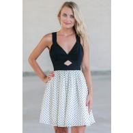 Black and White Polka Dot Dress, Cute Dot Dress