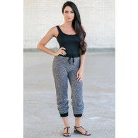 Black and Grey Casual Scrunch Sweatpants, Cute Casual Pants