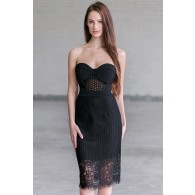 Sexy Black Lace Midi Cocktail Party Dress