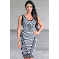 Black and White Printed Patterned Bodycon Pencil Sweater Dress