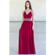 Burgundy Red Maxi Embellished Bridesmaid Dress