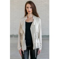 Beige Lightweight Jacket, Cute Fall Beige Jacket