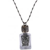 Pyrite Bottle Necklace, Cute Boho Pendant