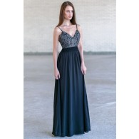 Black Lace and Chiffon Maxi Dress, Cute Maxi Dress, Open Back Prom Dress