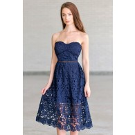 Navy Blue Lace Midi A-Line Dress