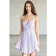 Lavender Purple Lace Romper Dress, Cute Juniors Summer Outfit