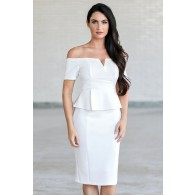 Off White Off Shoulder Peplum Pencil Dress, Cute Work Sheath Dress