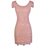 Pink Lace Pencil Dress