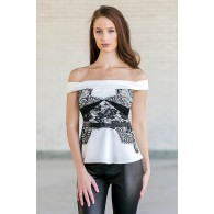 Cute black and white lace off the shoulder top