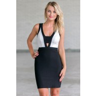 Black and white colorblock pencil dress, Cute black and white cocktail dress