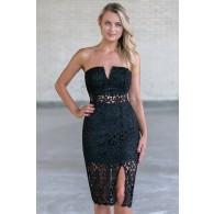 Black lace strapless midi dress, cute black cocktail dress