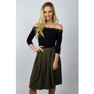 Cute Olive Green A-Line Midi Skirt