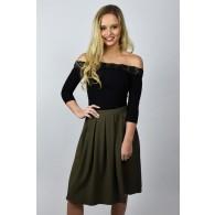 Cute Olive Green A-Line Midi Skirt