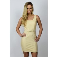Posh and Luxe Cream and Gold Bow Front Sparkle Sheath Dress