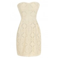 Graceful Lace Strapless Dress in Beige