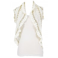 Ivory and Gold Crochet Vest