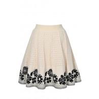 Black and Beige Knit Skirt, Cute Sweater Skirt, Black and Beige Floral Skirt, Black and Beige A-Line Skirt, Cute Knit Skirt