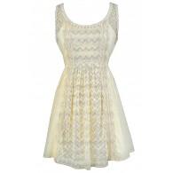 Beige Lace Dress, Cute Beige Summer Dress, Beige Cotton Dress, Beige Sundress, Beige Lace Rehearsal Dinner Dress