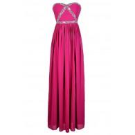 Fuchsia Embellished Maxi Dress, Fuchsia Beaded Prom Dress, Fuchsia Maxi Dress, Cute Fuchsia Prom Dress, Sequin and Rhinestone Fuchsia Prom Dress, Pink Maxi Dress, Beaded Pink Prom Dress