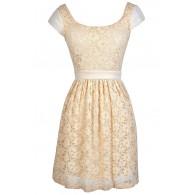 Beige Lace Dress, Beige Lace Capsleeve Dress, Cute Beige Dress, Beige Lace Party Dress, Beige Lace A-Line Dress