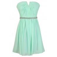 Mint Bridesmaid Dress, Cute Mint Dress, Mint Chiffon Dress, Mint Prom Dress, Mint Party Dress, Mint Rhinestone Dress, Mint Embellished Dress