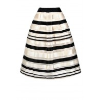 Black and Ivory Stripe Skirt, Cute Stripe Skirt, Black and Ivory Stripe A-line Skirt