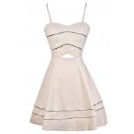 Beige A-Line Dress, Beige Party Dress, Beige Cutout Dress, Cute Beige and Black Dress