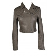 Grey Leatherette Jacket, Grey Faux Leather Moto Jacket, Grey Leatherette Moto Jacket, Cute Grey Leatherette Jacket