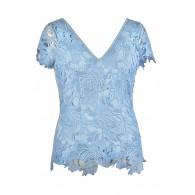Cute Plus Size Top, Plus Size Lace Top, Pale Blue Plus Size Top, Sky Blue Plus Size Top, Plus Size Summer Top, Pale Blue Lace Top