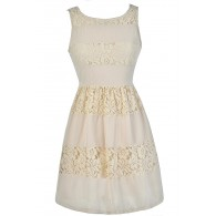 Cute Beige Dress, Beige Lace Dress, Beige A-Line Dress, Beige Party Dress, Beige Summer Dress