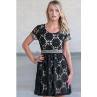 Black Lace A-Line Dress, Cute Little Black Dress, Juniors Online Boutique Dress