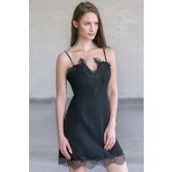 Little Miss Delicate Black Slip Dress