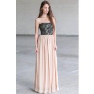 Cute Maxi Dress Online, Black and Beige Maxi Dress, Diamond Maxi Dress