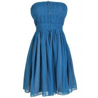 Pleated Strapless Hook and Eye Designer Dress by Minuet in Teal