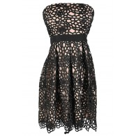 Sweet Honeycomb Lace Overlay Strapless Designer Dress by Minuet in Black/Nude