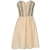 Antique Bronze Embellished Dress in Ivory