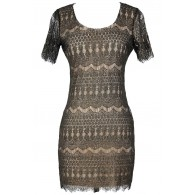 Goldleaf Onyx Black and Gold Lace Sheath Dress