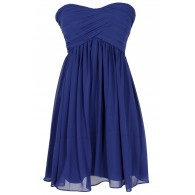 Night To Remember Strapless Chiffon Designer Dress in Bright Blue