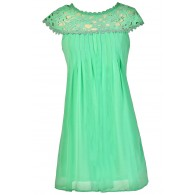 Mint Lace Dress, Mint Shift Dress, Mint Party Dress, Mint Cocktail Dress, Mint Sheath Dress, Mint Lace Neck Dress, Mint Summer Dress, Cute Summer Dress
