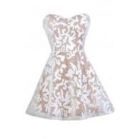 White and Beige Dress, White A-Line Dress, White Party Dress, White Cocktail Dress, White and Beige Summer Dress, White Rehearsal Dinner Dress, White Bridal Shower Dress