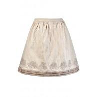 Beige A-Line Skirt, Cute Beige Skirt, Beige and Bronze Skirt, Beige Embroidered Skirt, Cute Fall Skirt, Cute Summer Skirt, Metallic Embroidered Skirt, Cute Beige Skirt