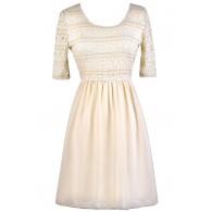 Cream Lace Dress, Beige Lace Dress, Cream Lace A-Line Dress, Beige Lace A-Line Dress, Cute Summer Dress, Beige Lace Summer Dress, Cream Lace Summer Dress, Cream Party Dress, Beige Party Dress