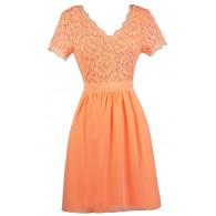 Cute Neon Orange Lace Dress, Neon Orange lace and Chiffon Dress, Neon Orange Capsleeve Dress