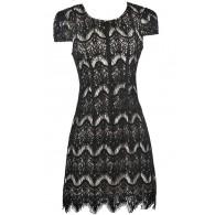 Black and Beige Lace Dress, Black Lace Sheath Dress, Black Lace Cocktail Dress, Black Lace Party Dress, Little Black Dress