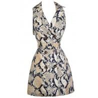 Python Print Dress, Snakeskin Print Dress, Navy and Beige Snake Print Dress, Snakeskin Trench Coat Dress, Navy and Beige Snake Print Dress, Navy and Beige Python Dress, Cute Animal Print Dress