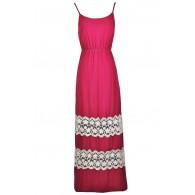 Hot Pink Crochet Lace Maxi Dress, Fuchsia Maxi Dress, Bright Pink Maxi Dress, Cute Summer maxi Dress, Pink Summer Maxi Dress, lace Trim Maxi Dress