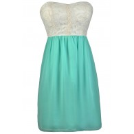 Beige and Mint Embroidered Dress, Mint Sundress, Cute Summer Dress, Mint and Ivory Dress