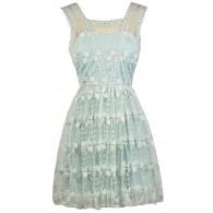 Cute Pale Blue Dress, Sky Blue Embroidered Dress, Pale Blue A-Line Party Dress